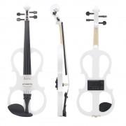 Violon Électrique Blanc 4/4 Size Érable Bois Instrument À Cordes Pour Musique Amateurs Débutants
