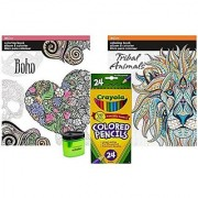Crayola Colored Pencils (24) Prismacolor Pencil Sharpener and 2 Adult Coloring Books (Tribal Animals and Boho)