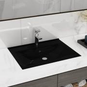 vidaXL Luxusné keramické umývadlo čierne, s otvorom na kohútik, 60x32 cm
