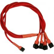 Cablu adaptor Nanoxia 3-pini Fan la 4x 3-pini, 60cm, red/black