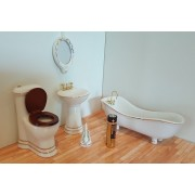 Obiecte sanitare baie alb/auriu - miniaturi papusi/colectionari
