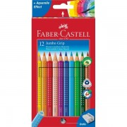 Creioane colorate 12 culori+ascutitoare Jumbo Grip Faber-Castell