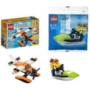 LEGO Sea Adventures 2 Set Bundle - Creator 3-in-1 Sea Plane 31028 & City Jet Ski w/ Minifigures 30015