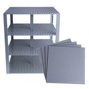 "Premium Light Gray Stackable Base Plates 4 Pack 10"" X 10"" Baseplate Bundle With 60 Gray Bonus Building Bricks (Lego Compatible) Tower Construction"