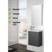 SALGAR Ensemble Lave-mains Meuble laqué gris brillant + Vasque + Miroir + LED - SALGAR MICRO 22517