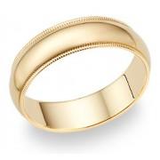 6mm 14K Gold Milgrain Wedding Band Ring