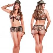 Fantasia Militar Feminina Hot Flowers
