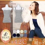 【SALE開催中】[&HEAT]寒い冬も暖か+4.2℃☆[M/Lサイズ]全8color!取り外し可ストラップ付きベアキャミソールトップス/抗菌防臭/インナー[H503]