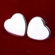 Formato de Coração Brincos Curtos Jóias Feminino Coração Casamento Festa Diário Casual Prata de Lei 2pçs Prateado