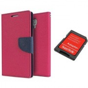 Sony Xperia C5 Ultra Mercury Wallet Flip Cover Case (PINK) With Sandisk SD CARD ADAPTER