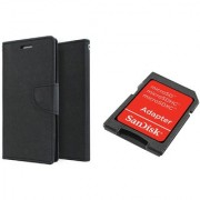 Sony Xperia C5 Ultra Mercury Wallet Flip Cover Case (BLACK) With Sandisk SD CARD ADAPTER