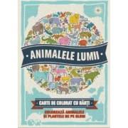 Animalele lumii - Carte de colorat cu harti - Descopera si coloreaza animalele de pe glob