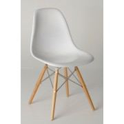 Replica Charles Eames DSW Dining Chair - fibreglass, chrome steel, natural timber legs - various colours