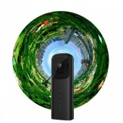 Camara portatil Wi-Fi de 360 ??grados VR con lente dual - Negro