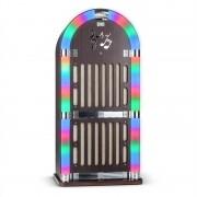 auna Memphis DK Máquina de discos Bluetooth FM 2 x AUX Efectos de luz LED madera