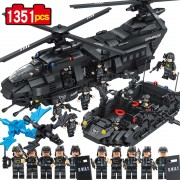 Compatible Lego 1351pcs Swat team model building blocks Chinook transport helicopter Educational Bricks Kids Toys DIY