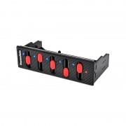 """Thermaltake Thermaltake Commander F5, montare in bay de 5.25"""", se pot controla 5 ventilatoare (conectori 3-pin/4-pin PWM, 8W/canal, voltaj: 4V - 10.5V), lungime cablu curent: 100mm, lungime cabluri ventilatoare: 600mm, dimensiuni: 150 x 80 x 42 mm, greuat"""