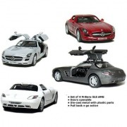 Official Licensed Product - Set of 4: 5 Mercedes Benz SLS AMG 1:36 Scale (Grey/Red/Silver/White)