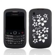 Samrick Coque en TPU et hydrosilicone pour Blackberry 8520 Curve 2G/9300 Curve 3G Fleurs blanches sur fond noir