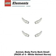 Lego Parts: Animal Body Parts Barb Small (PACK of 4 - White Helmet Horns)