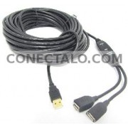 USB 2.0 Extension Cable AM a 2 AH con alimentación de 15m