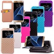 karzea ™ TPU padrão de diamante e estojo de couro pu com suporte para Samsung Galaxy S7 edge / S7 (cores sortidas)