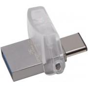 Stick USB Kingston DataTraveler microDuo 3C, USB 3.1, USB Type-C, 16GB (Culoare metalica)