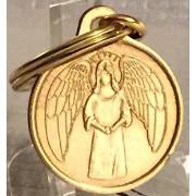 "Guardian Angel 1"" Bronze Key Chain Tag He Will Command Angels Keytag Keychain"