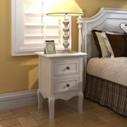 vidaXL Комплект винтидж нощни шкафчета, цвят бял