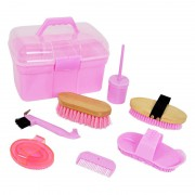Horse Grooming Box with many Accessories, Pink