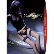 Gabriella - Elegant fishnet stockings with suspender belt Blue Night