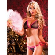 Baci Black-Hot Pink Bikini Set with Lacing 107