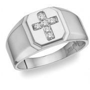 Diamond Cross Ring - 14K White Gold