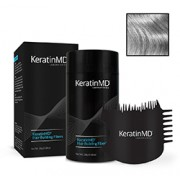 KeratinMD HAIR BUILDING FIBERS (Gray) + FREE APPLICATOR COMB VALUE PACK