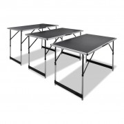 vidaXL Skladací pracovný stôl 3 ks nastaviteľný