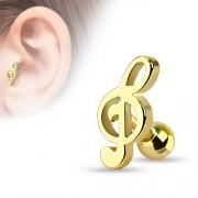 Helix piercing muzieknoot goudkleurig