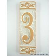 Numero civico ceramica con fiore bianco nfb3