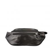 Damen Leder Bauchtasche in Schwarz - Hüfttasche, Gürteltasche