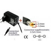 Alim chargeur secteur disque dur externe 12 Vdc 1 A dc