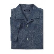 ランズエンド LANDS' END メンズ・シャンブレープリント・オープンカラー・シャツ/スリムフィット/半袖(フローラルシャンブレー)