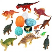 Peradix Assorted Dinosaurs Family Figure Set with Dinosaur Eggs Map Stories Song Pack of 16