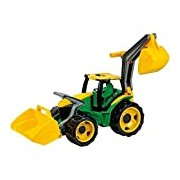 Lena Tractor with Front Loader and Shovel (Large, Green/ Yellow)