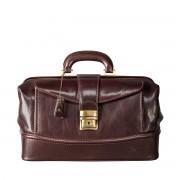 Leder Arzttasche in Dunkelbraun - Arzttasche, Aktentasche, Dokumententasche, Businesstasche