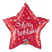 Balon stea rosie Merry Christmas 51 cm