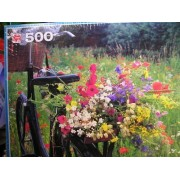 Flower Power - 500 Piece Puzzle - Bicycle with Basket & Flowers