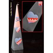 Hartjes Piramide kaars, ROZE-GRIJS, H: 30 cm