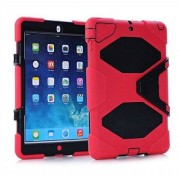 SK MICRO ® Nuevo rojo Heavy Duty Military Rugged tough a prueba de golpes función atril para Apple iPad Air/iPad 5th Gen generación con lápiz capacitivo & Construido en Protector de pantalla