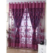 rosegal 1Pcs Grommet Roller Floral Window Tulle