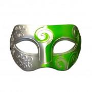 Mens Masquerade Mask - Silver And Green Swirl