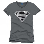 Superman Cracked Silver Logo Men Anthracite T Shirt